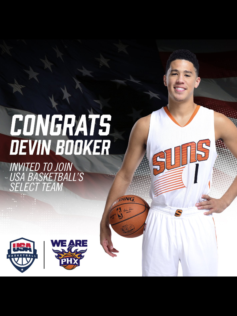 6 7 16 Official Announcement That Devin Booker Has Been Named To The 2016 Usa Men S Select Team Devin Booker Men Basketball Teams
