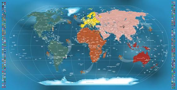 Mapa Mundi Papel de Parede Adesivo Decorativo  Modelos de Mapas
