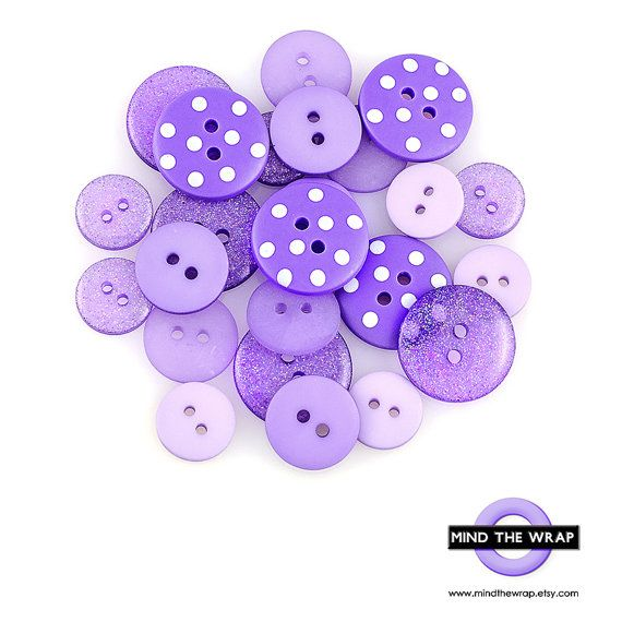 Lilac Purple Buttons  24 pieces  Save 33%  by MindtheWrap on Etsy