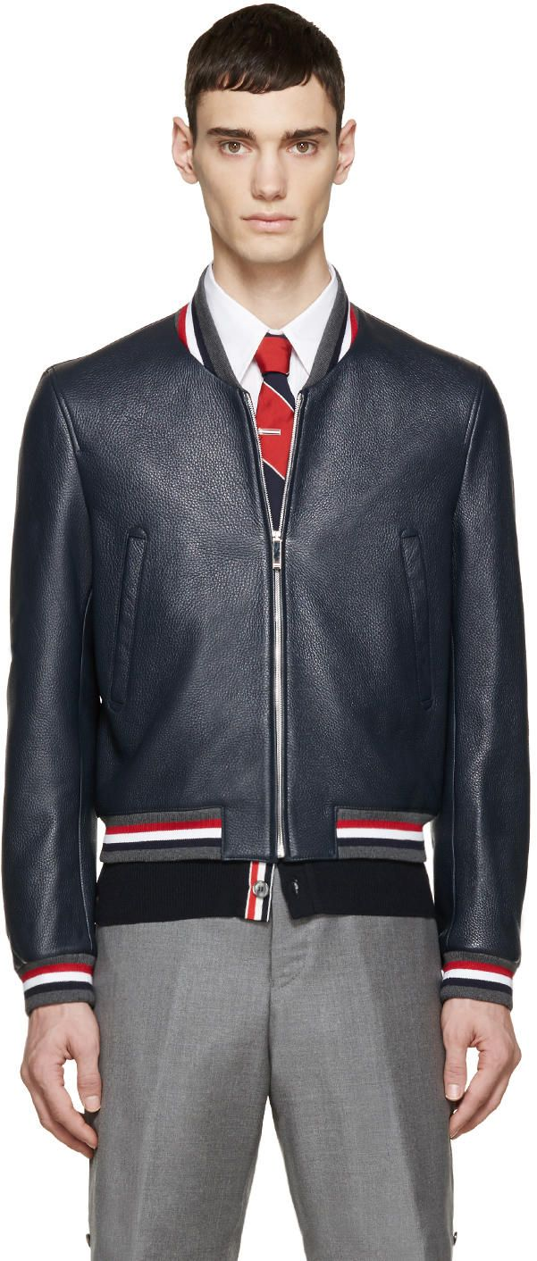 Thom Browne Navy Leather Varsity Bomber Jacket jacket