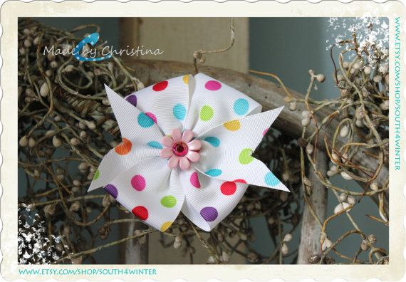 Polka Dot Flower Fever  Hair Bow by south4winter on Etsy, $5.00