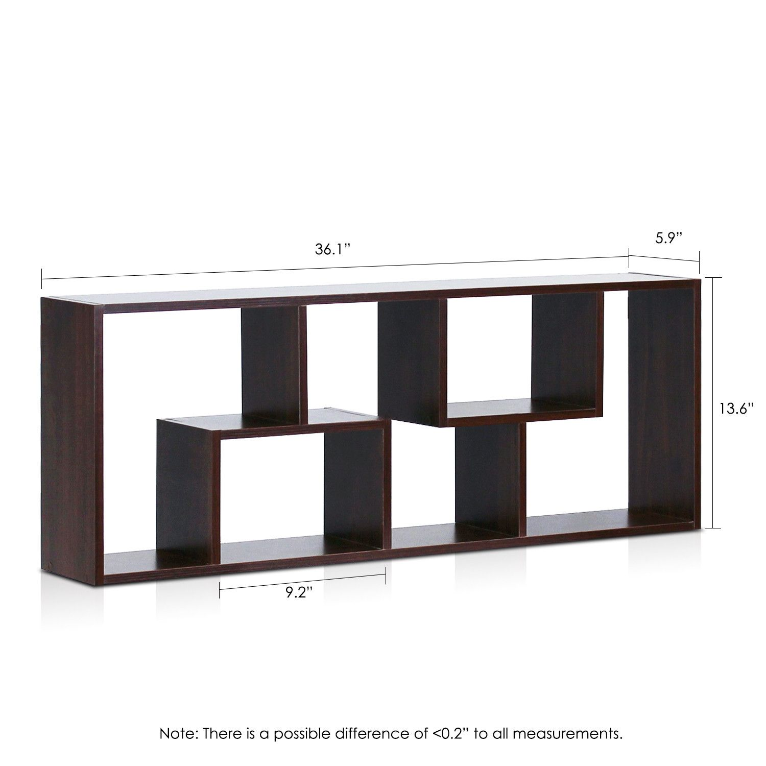"Furinno Boyate 4 Wall Mounted 36.06"" Bookcase"