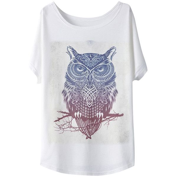 White Womens Cool Owl Printed Causal Loose Chic T-shirt ($15) ❤ liked on Polyvore featuring tops, t-shirts, pinkqueen, white, white tops, owl tee, white tee, loose fit tee and white t shirts