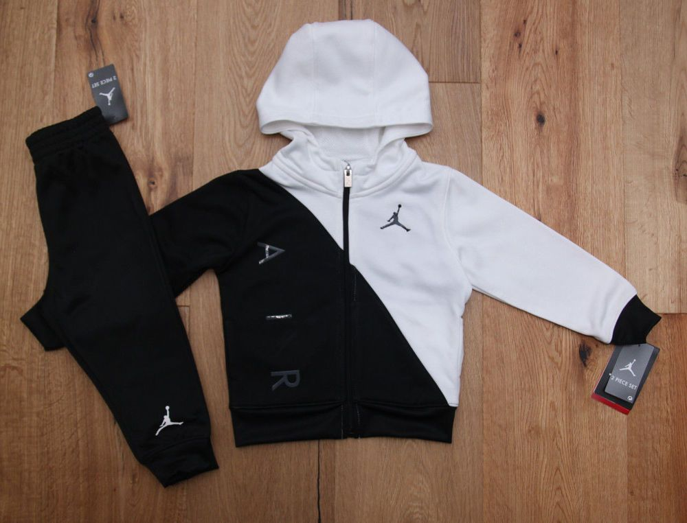 679d754b018 Air Jordan Baby Boy 2 Piece Hooded Jogging Set~Tracksuit ~Black & White~ Jumpman #Jordan #Tracksuit #Jogging #BabyBoy #AirJordan