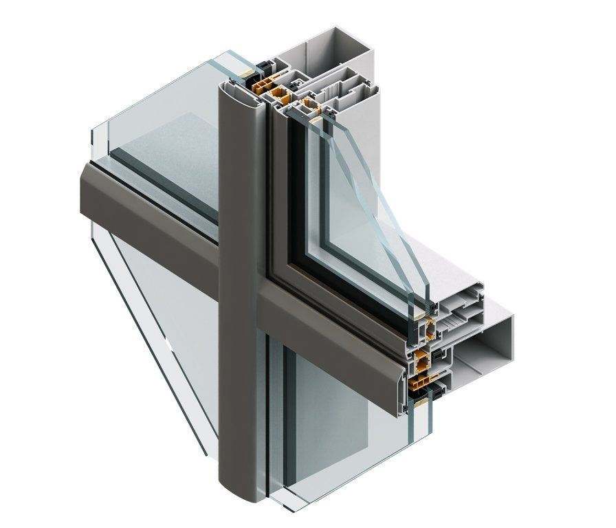 Stick System Curtain Wall Aluminum And Glass 60 K Feal