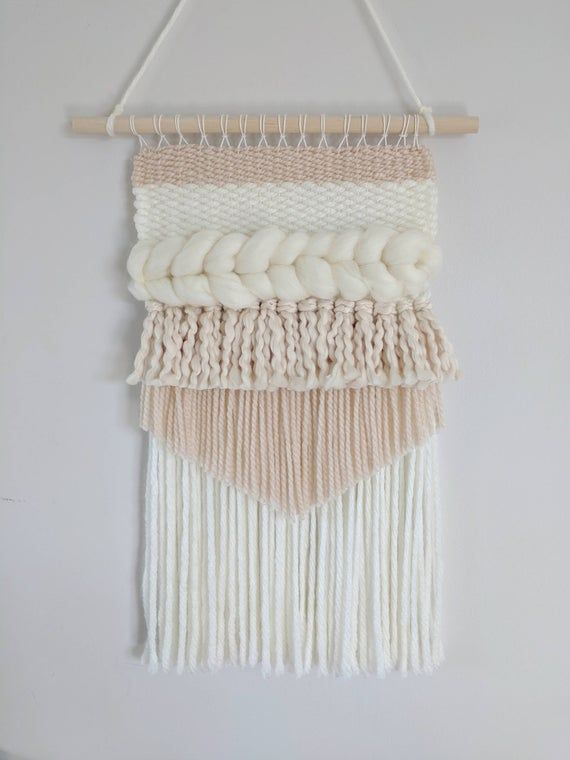 Neutral Woven Wall Hanging, Woven Tapestry, Beige Woven Wall Hanging, Taupe Wall Hanging