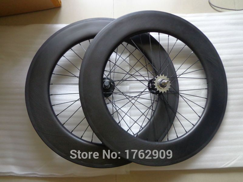 700C 88mm Rear Clincher Carbon Wheels Fixed Gear Single Speed Hub 3K Track Wheel