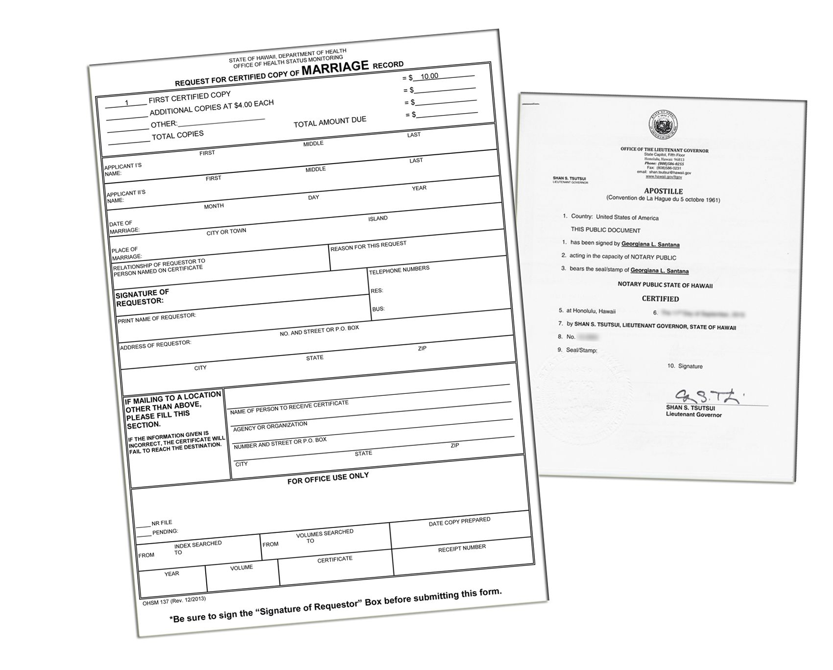 Hawaii Health Department Certification Application form