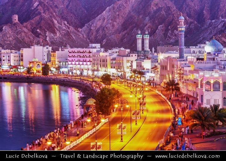 Oman Muscat Muttrah Corniche At Dusk Twilight Blue Hour Night Muscat City Arabian Sea Sultanate Of Oman