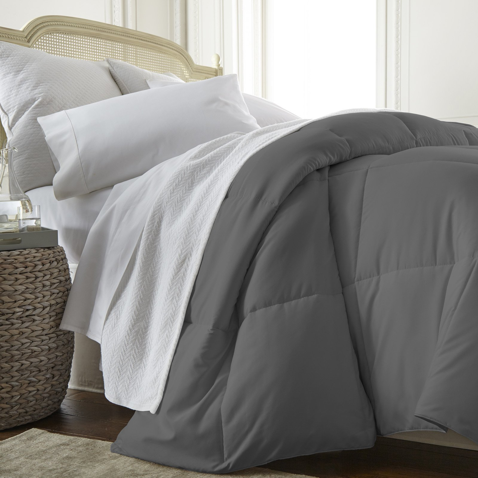 All Season Alternative Down Comforter By Noble Linens Gray Down