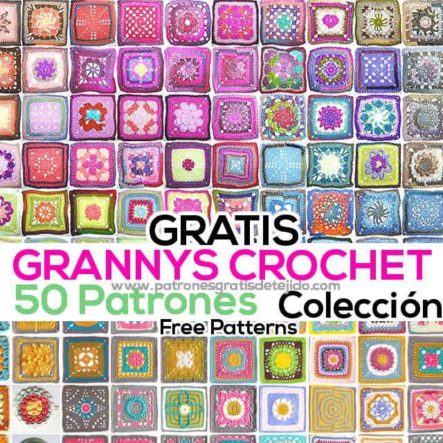 50 patrones de grannys crochet para descargar gratis | Crochet y Dos ...