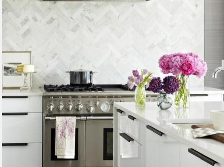 I Really Must Have That Marble Herringbone Splashback. Via Pink