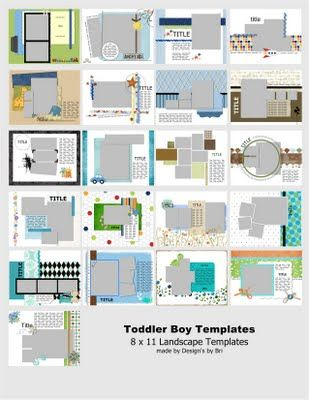 8 X 11 Landscape Digital Scrapbooking Templates For Storybook