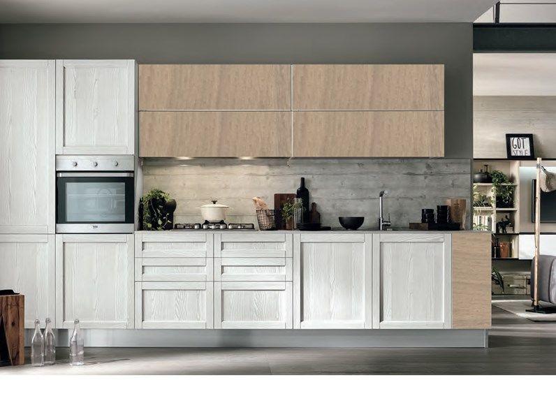 Cucina Moderna Vintage Lineare Ante Legno Essenza Rovere Chiaro E White In Offerta Cucina Moderna Rovere Chiaro Cucine