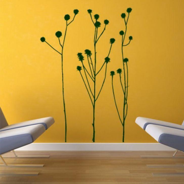destudio bush long grass twigs flowers wall sticker - buy online in