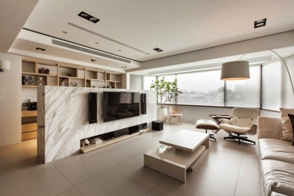 Wonderful Contemporary Living Room Design Features Amazing Marble Wall Divider With Cool Entertainment Flatscreen TV Unit And Sound System Setting