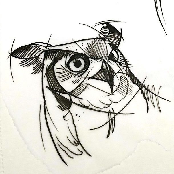 Great Sketch Style Owl Tattoo Design Sketch Style Tattoos Geometric Owl Owl Tattoo Design