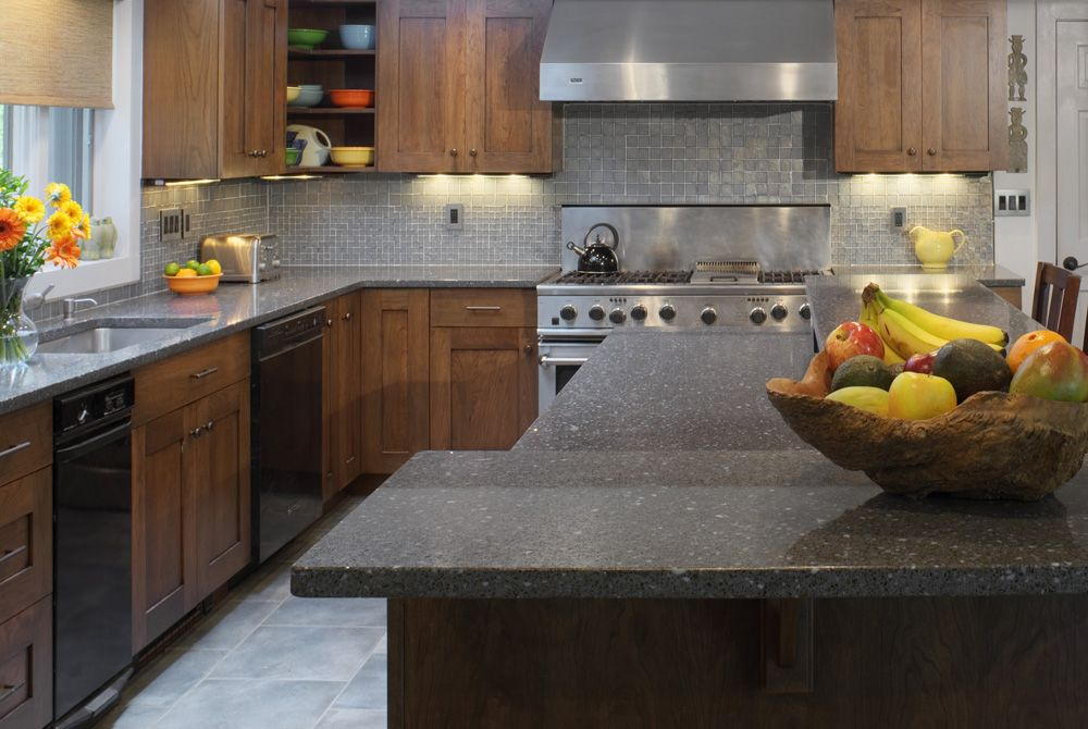 High Quality Cool Two Tier Kitchen Island Design Also Natural Wood Cabinet Storage Plus  Great Gray Granite Countertop Part 18