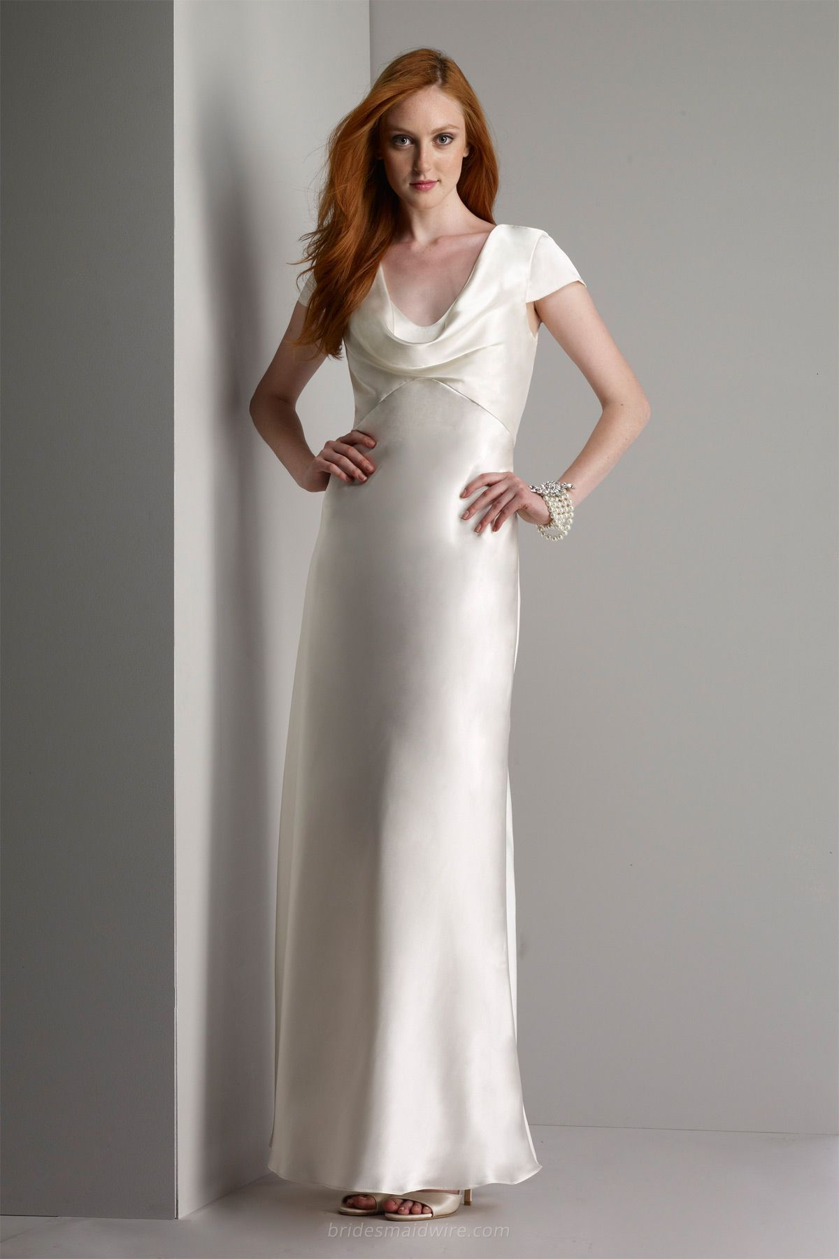 Cowl Neckline Ivory Long Evening Bridesmaids Gown Cropped