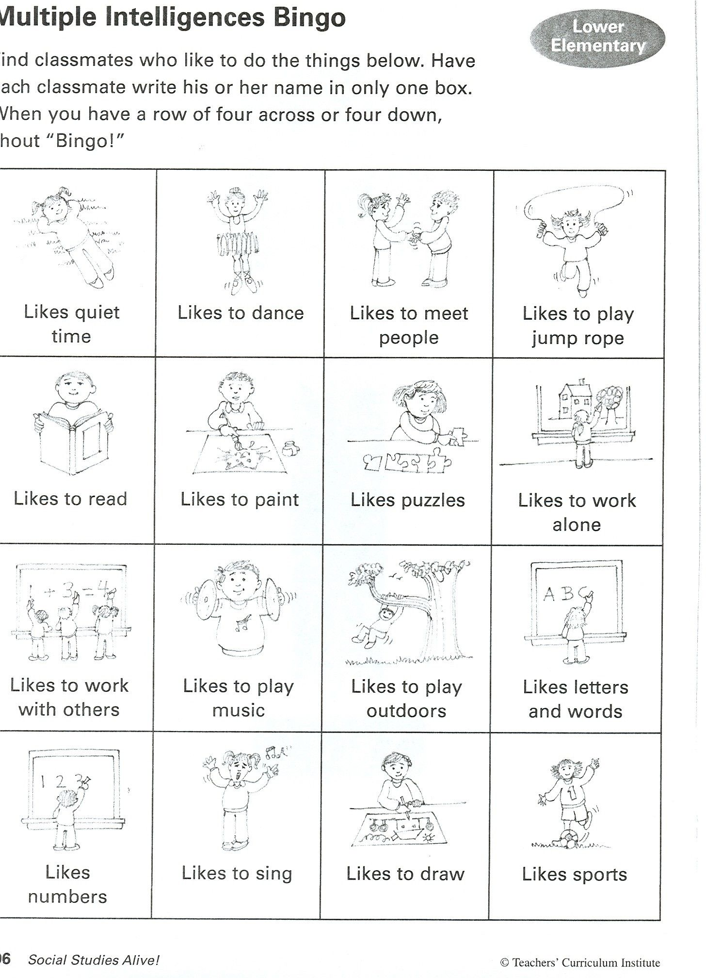 8 Intelligences Activities – Multiple Intelligence Worksheet