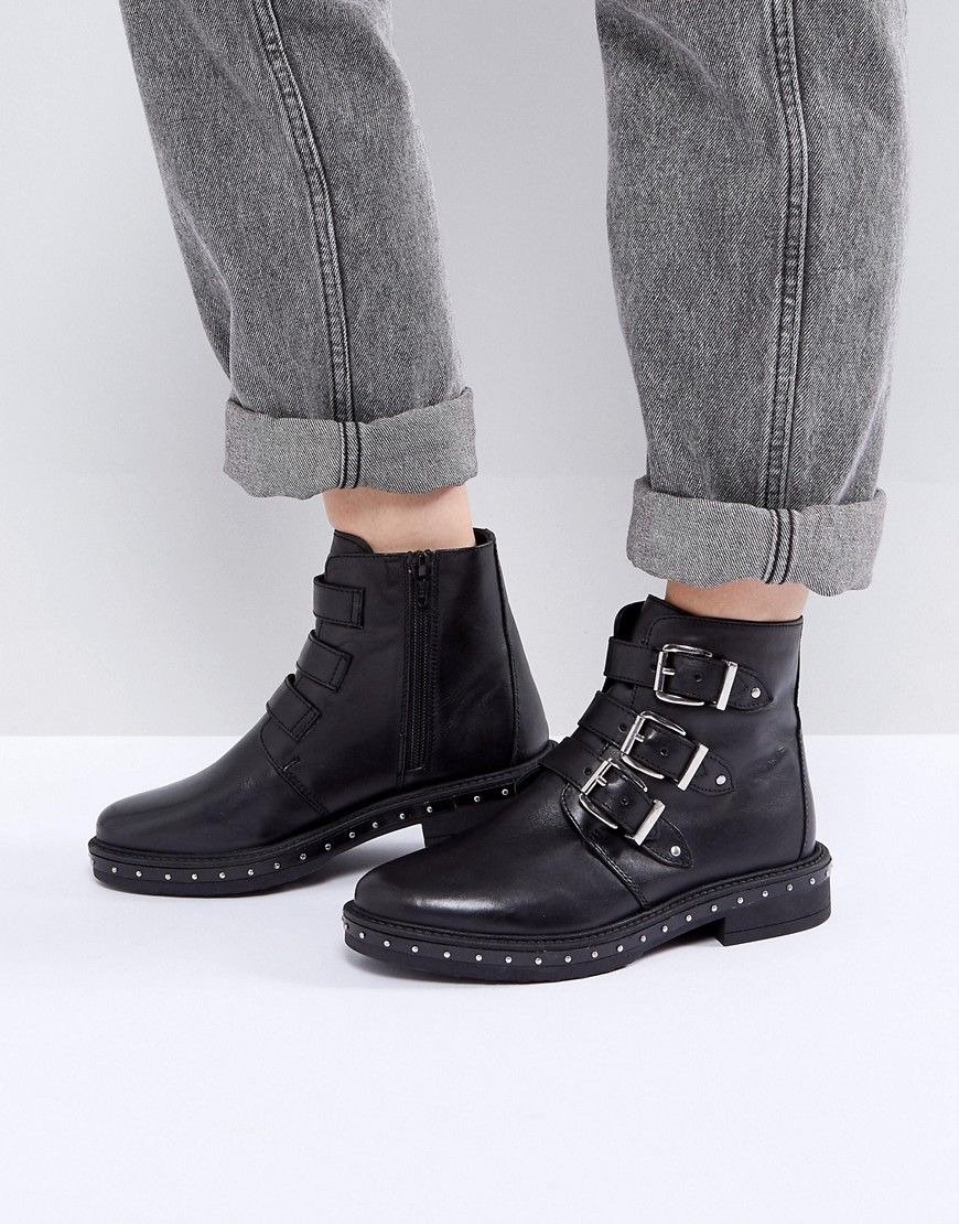 Shop Steve Madden Matika Studded Leather Buckle Ankle Boots at ASOS.