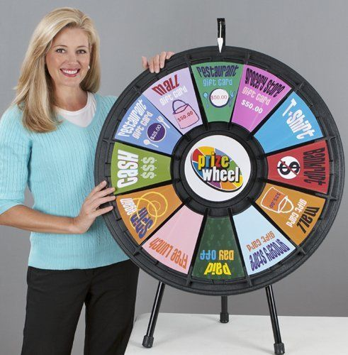 "12 Slot 31"" Black Tabletop Prize Wheel By Games People"