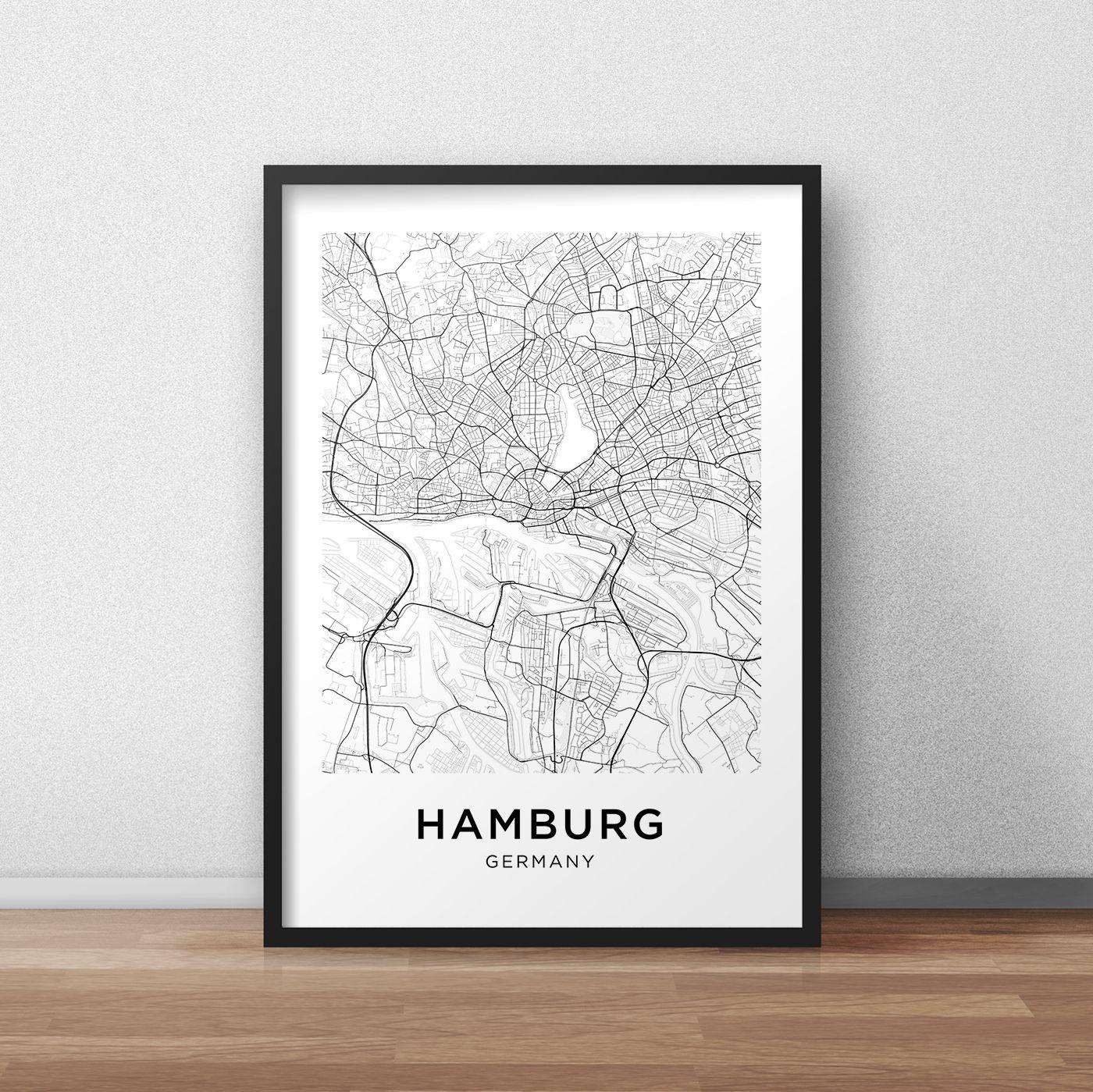 JYWDZSH Leinwanddruck Schwarz-Wei/ß-Wortplakat Stadtplan Hamburg Nordic Print Leinwand Malerei Wandbild f/ür Wohnkultur 15x20cm ohne Rahmen
