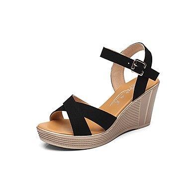 c74f801b Mujer Zapatos Aterciopelado Verano Talón Descubierto Sandalias Tacón Cuña  Punta abierta Hebilla para Casual Vestido Negro