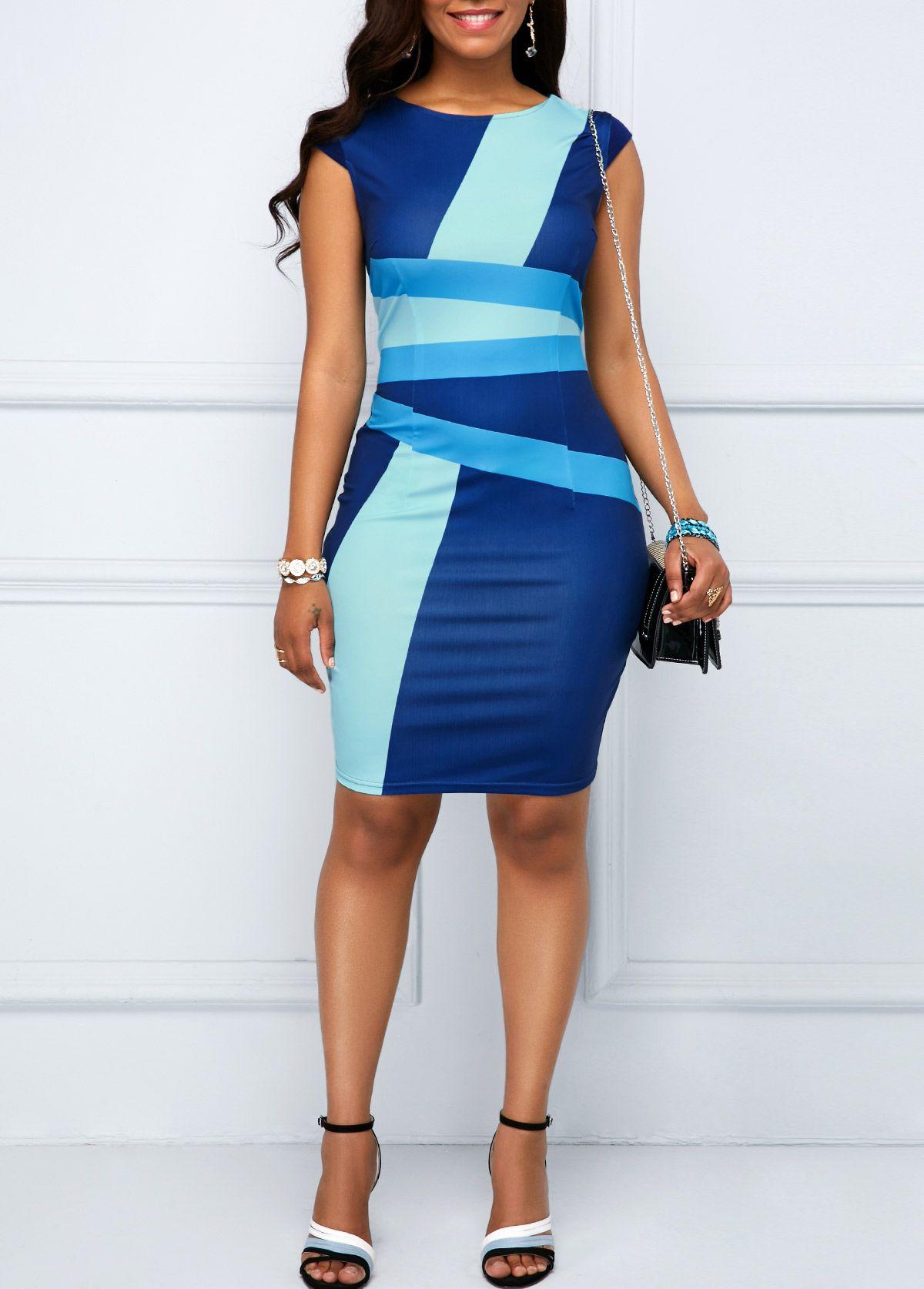 Cap sleeve printed zipper back sheath dress in womenus blue