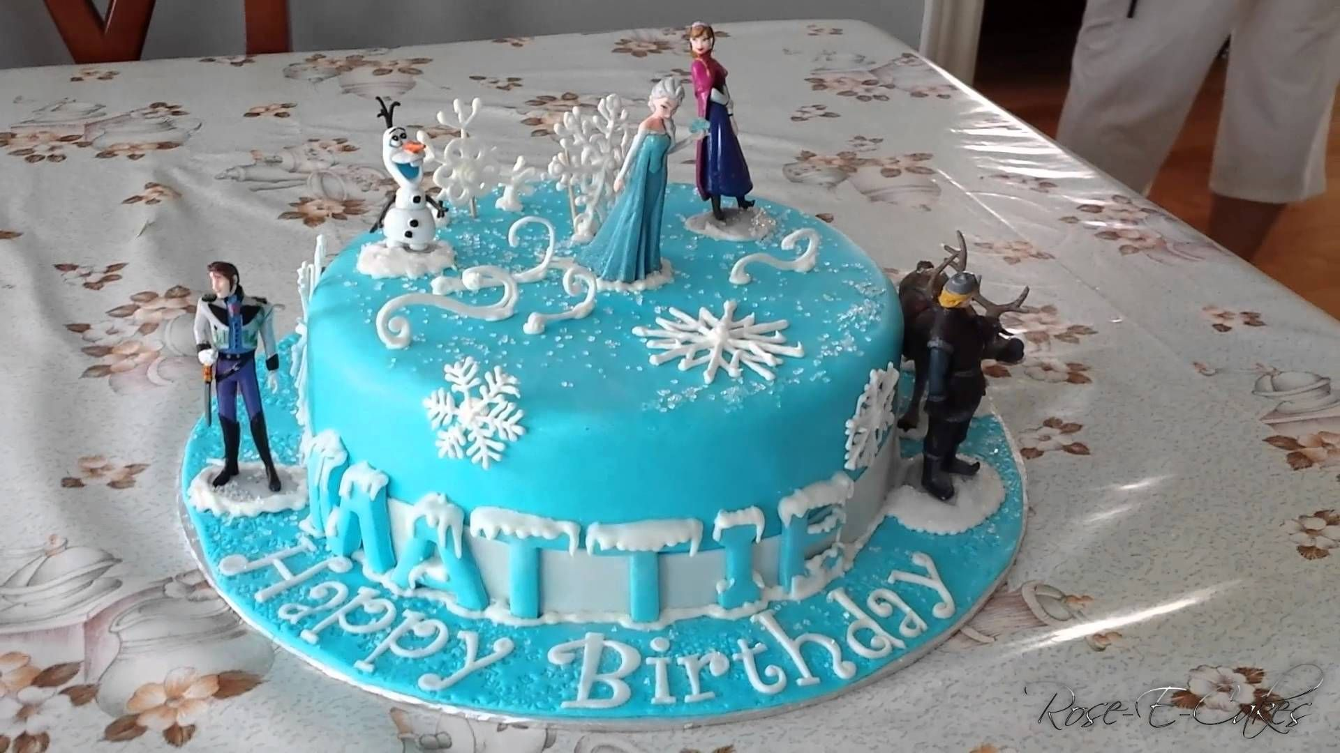 The incredibly popular movie Frozen inspired this cake. A lucky little girl who loves Frozen got a beautiful cake styled after the movie and topped with some...