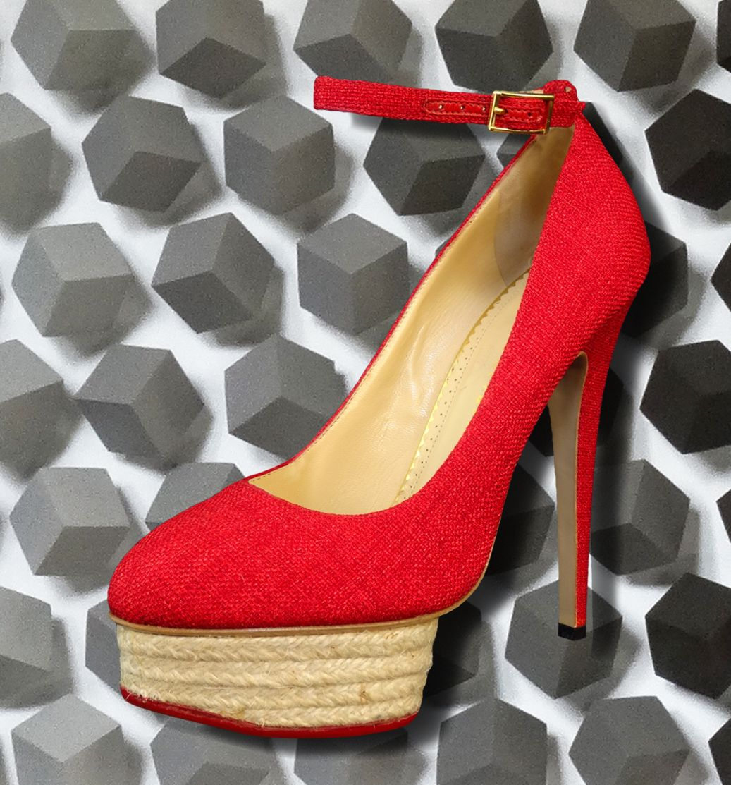 """OUTTA-THIS-WORLD-GORGEOUS PUMPS!!!  CHARLOTTE OLYMPIA """"DOLORES"""" RED RAFFIA ANKLE STRAP HEELS"""