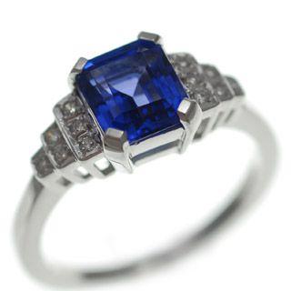 Deco step Tanzanite and Diamond ring
