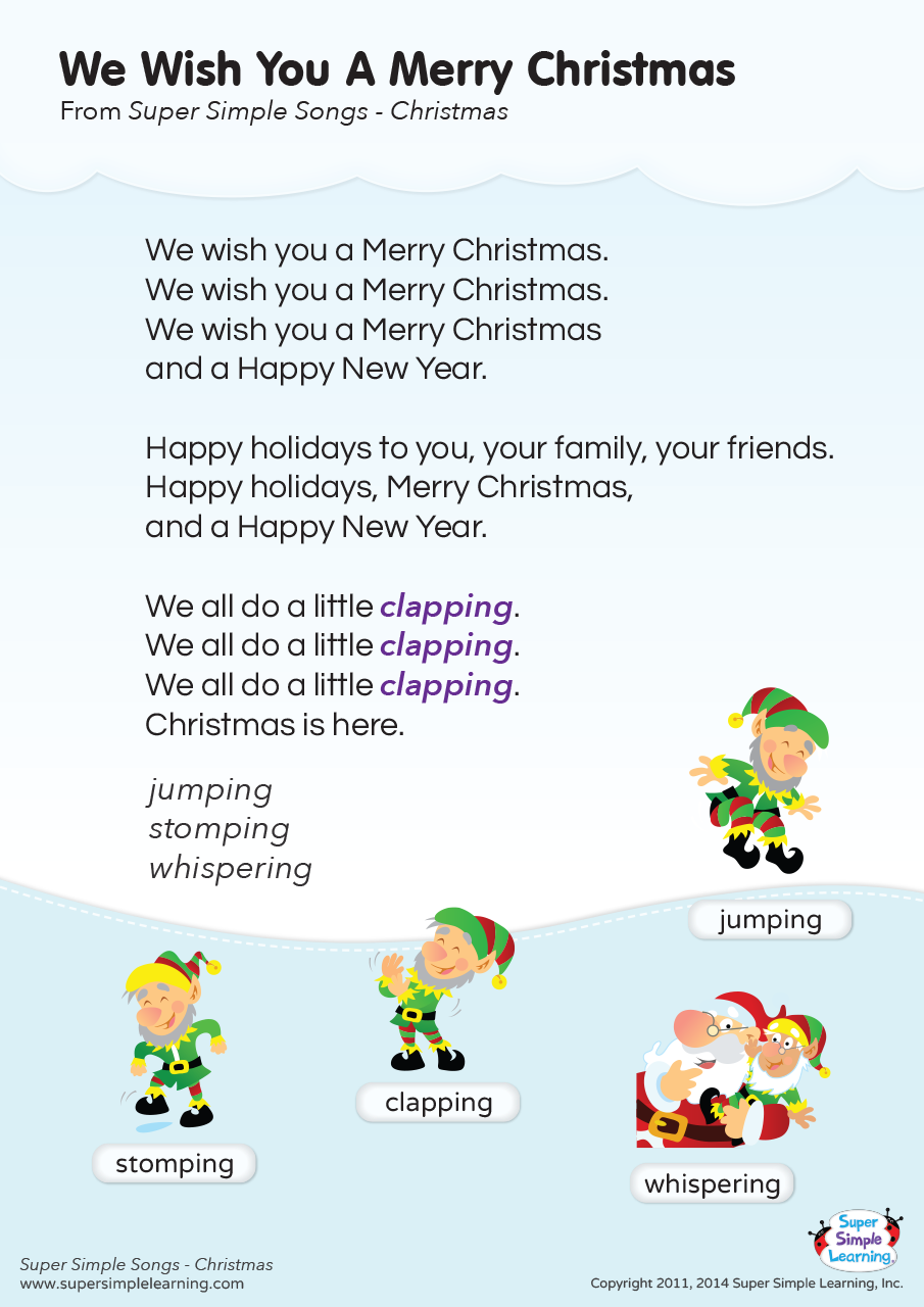 We Wish You A Merry Christmas Lyrics Poster Super Simple Christmas Songs Lyrics Christmas Songs For Kids Christmas Songs For Toddlers