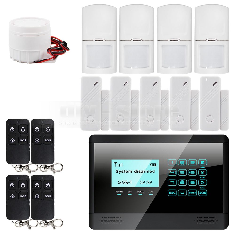 Diysecur Wireless Wired Gsm Sms Home House Security Inturder Alarm System Door Sensor Motion Top Security Systems Cheap Alarm System Home Security Systems