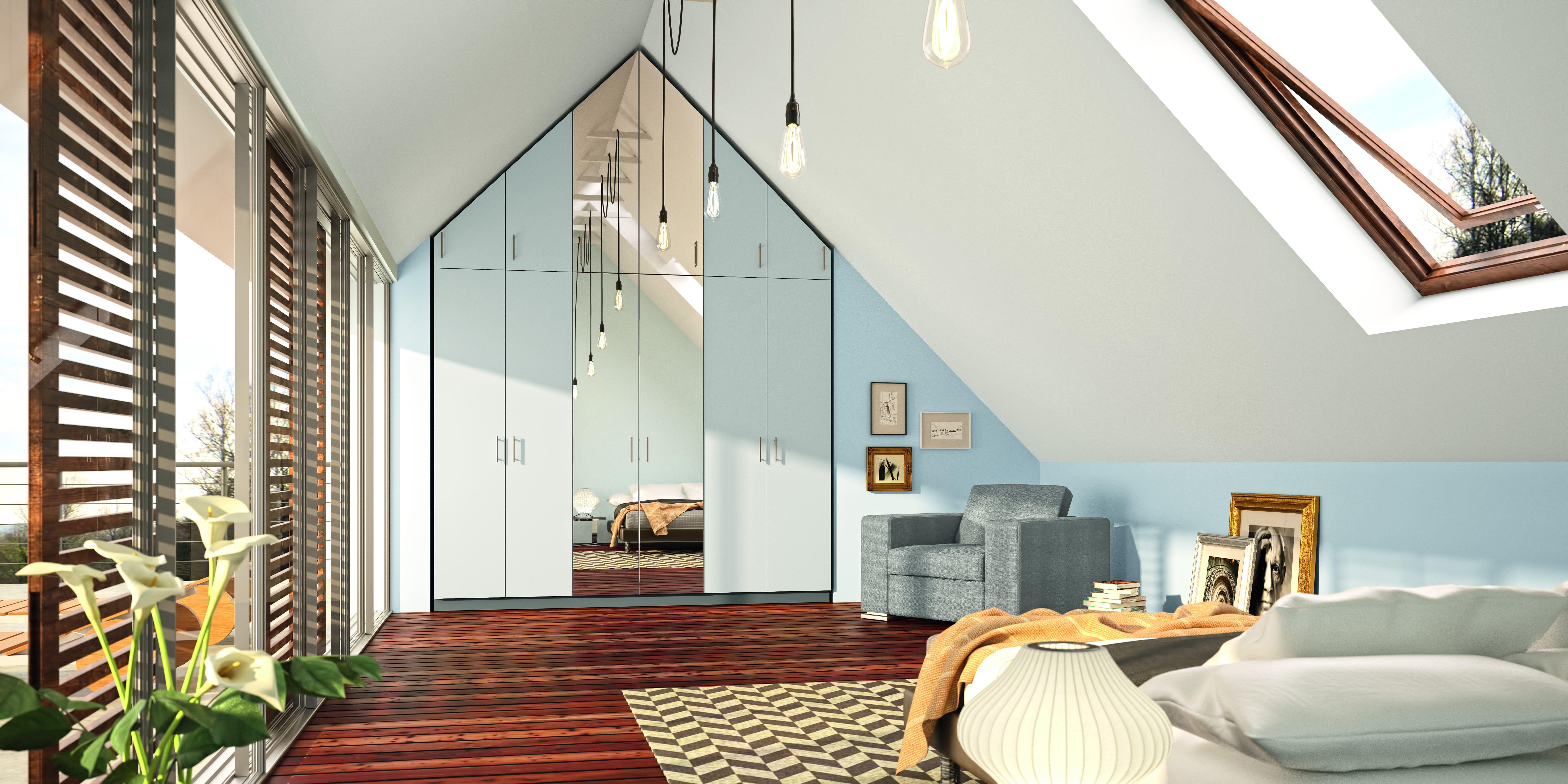 Kleiderschränke Mit Schräge Können Passend Bis Unter Das Dach Konfiguriert  Werden. Bei Besonders Hohen Decken