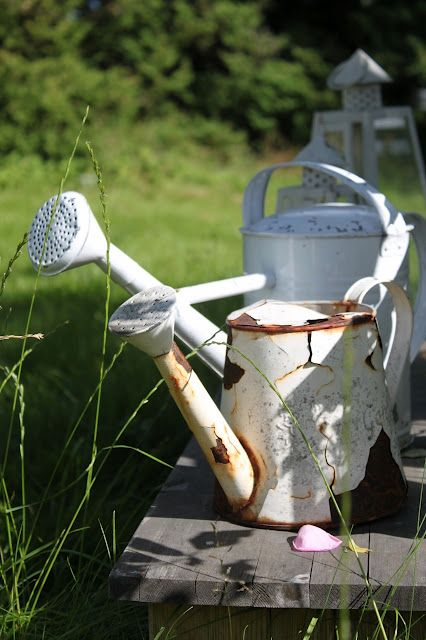 Crusty Rusty White Vintage Watering Can
