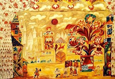 Natalia Goncharova Stage Design For The Golden Cockerel 1914 Art Naive Art Russian Folk Art