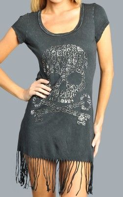 Affliction ROTATE Womens Dress M NWT NEW Top Skull Black MED AW1509