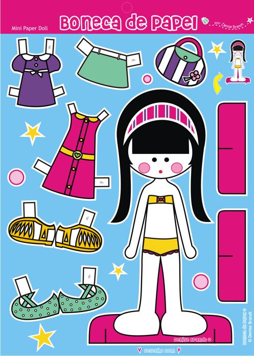 Boneca de Papel® Denise Brandt com roupinhas para vestir e brincar