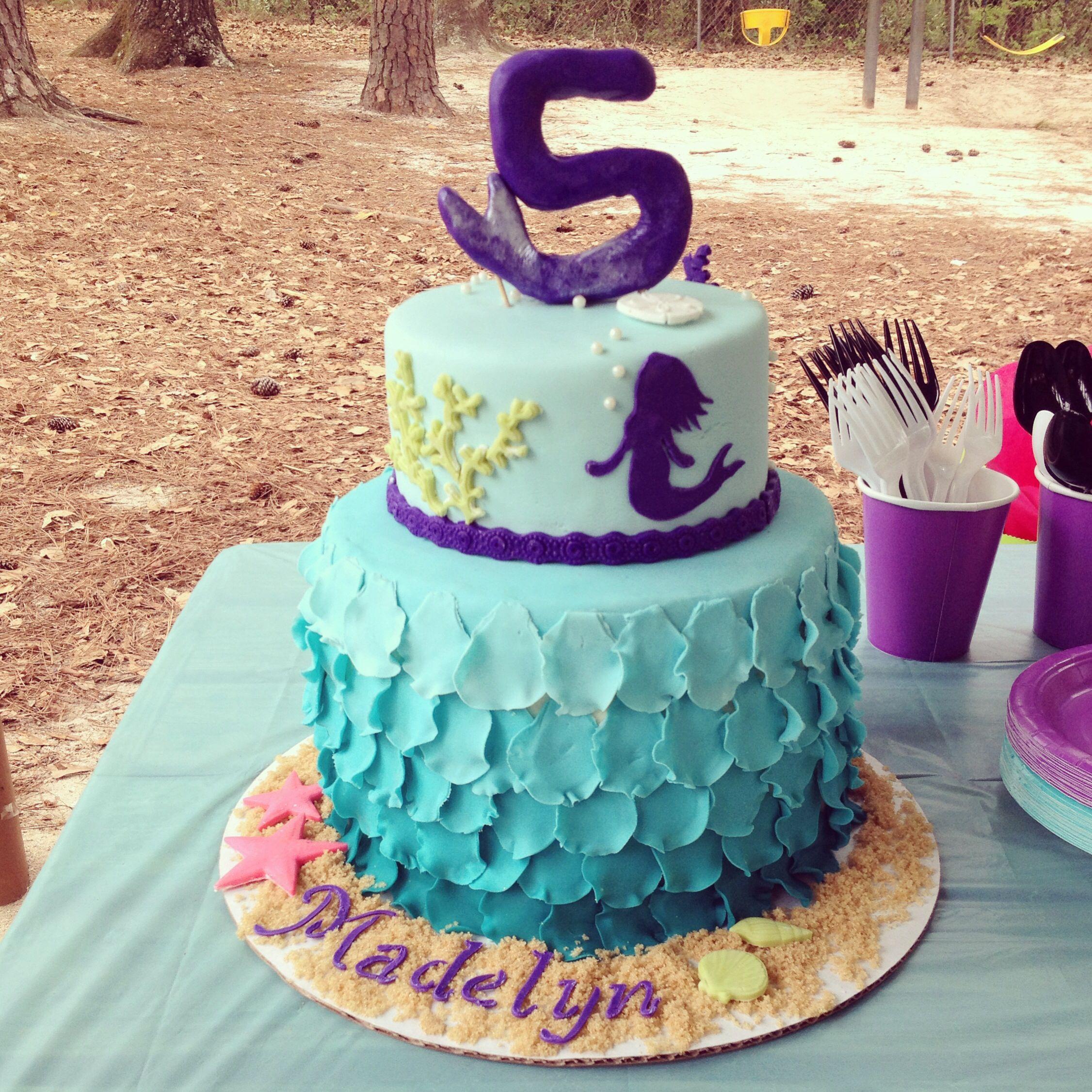 Mermaid cake!! The Little Mermaid birthday party. Teal