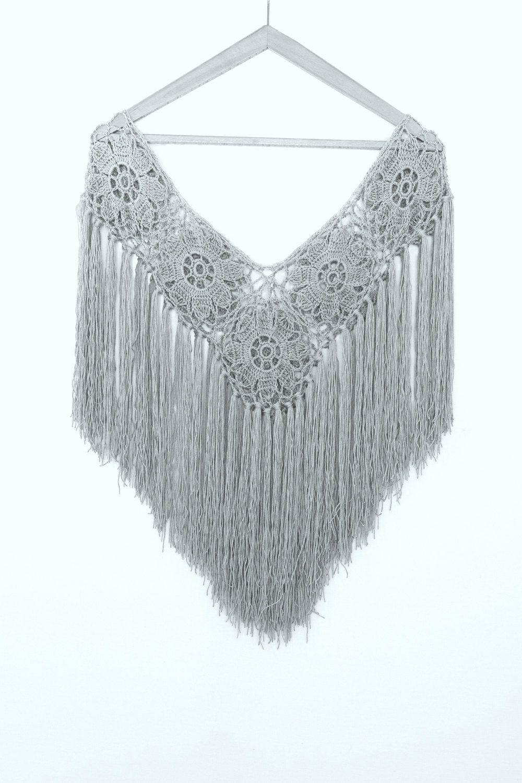 Gray Bridal Shawl Crocheted Shawl Wedding Wrap Bridal Accessories ...