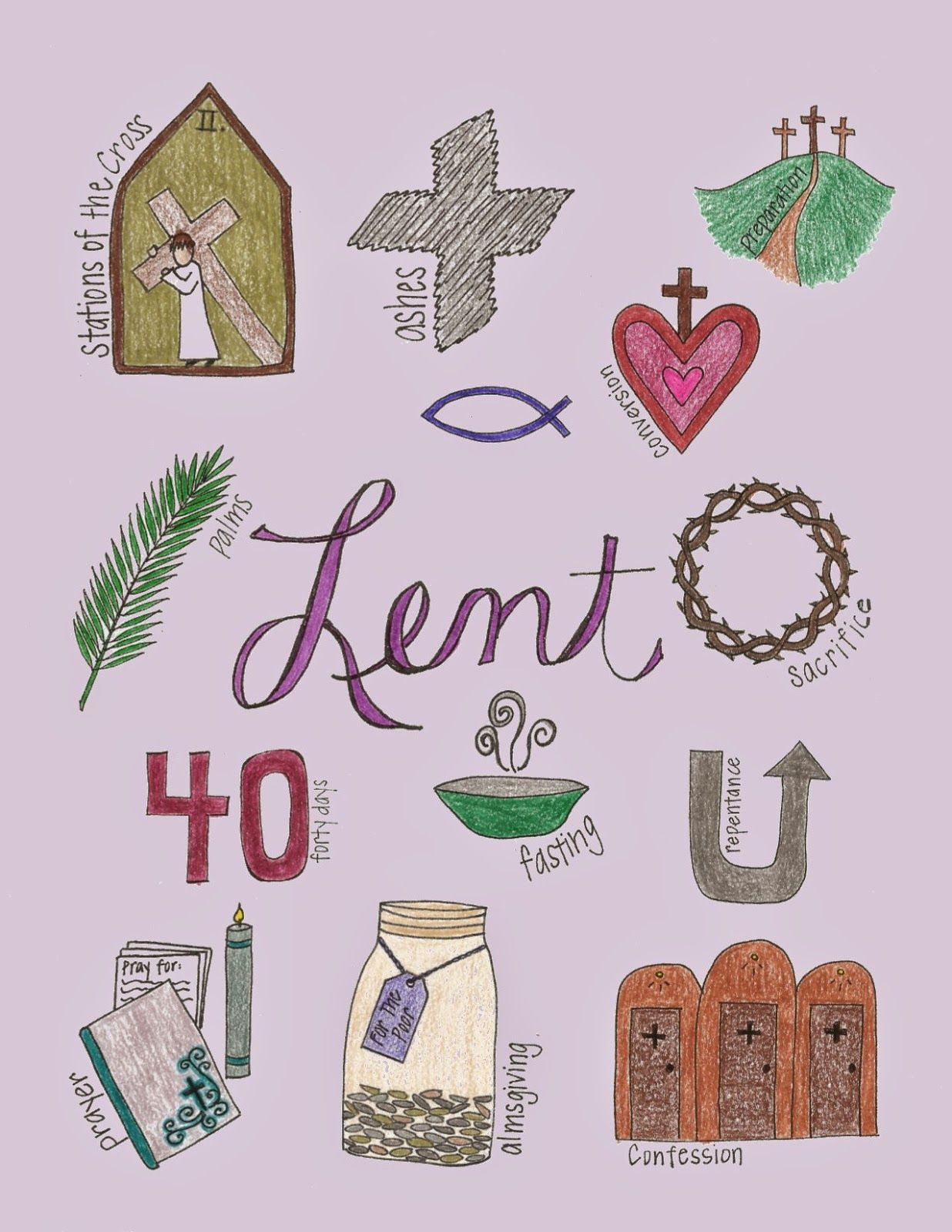 What Lent Looks Like Free Printable With The Signs And Symbols Of The Season In Color And Black