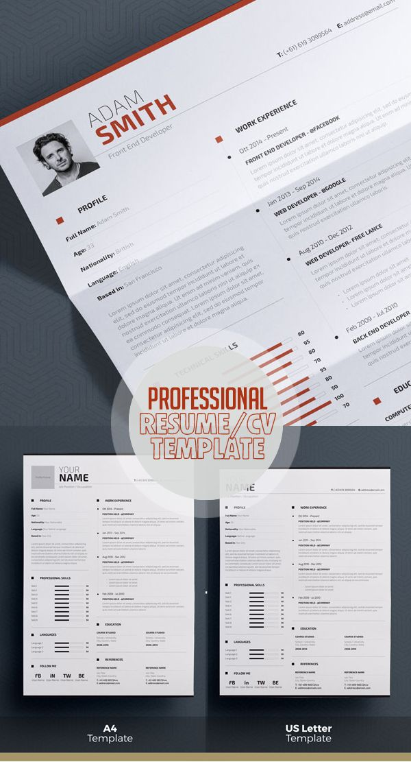 Professional Resume Template - Word + Indesign | Print Ready Designs ...