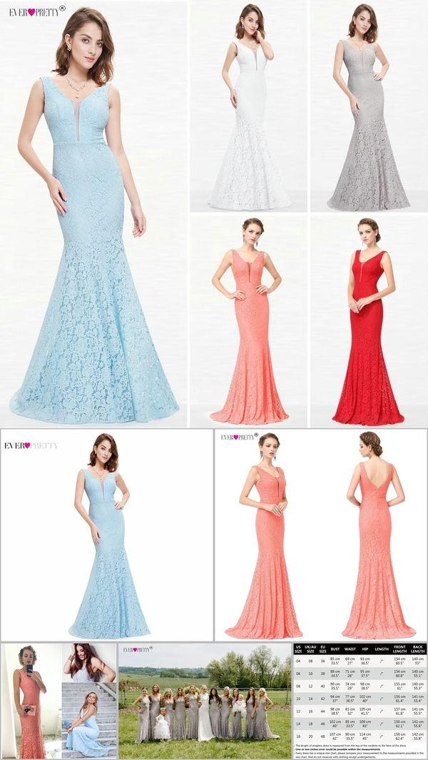 Lace Mermaid Prom Dresses Long 2018 Ever Pretty EP08838 Christmas Holiday  Party Sexy V-Neck a3ee0df93bb0