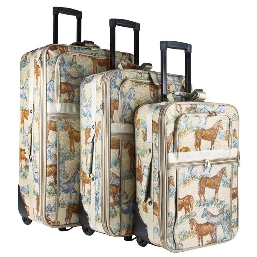 Horse Tapestry 3 Piece Rolling Travel Luggage Set
