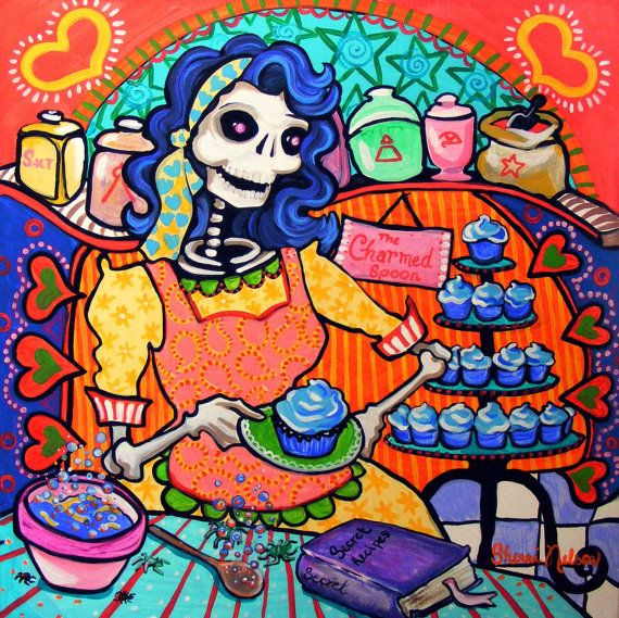 Kitchen Art  Day of the Dead Bakery Poster Mexican Folk