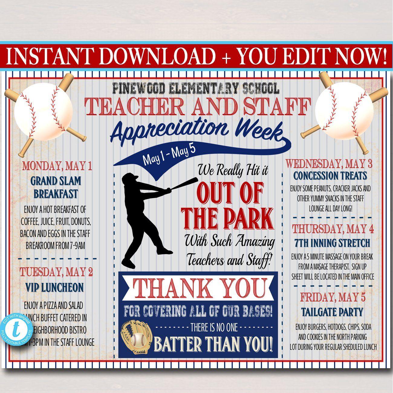 Baseball Themed Teacher Appreciation Week Itinerary Poster Printable In 2020 Staff Appreciation Week Teacher Appreciation Themes Teacher Appreciation Week