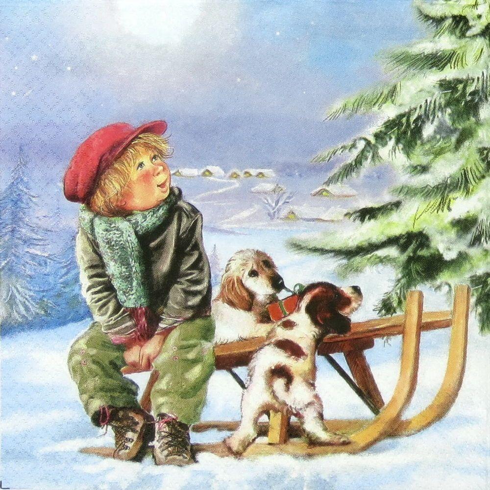 Papel 4x Servilletas Para Decoupage Decopatch Craft perros en la nieve