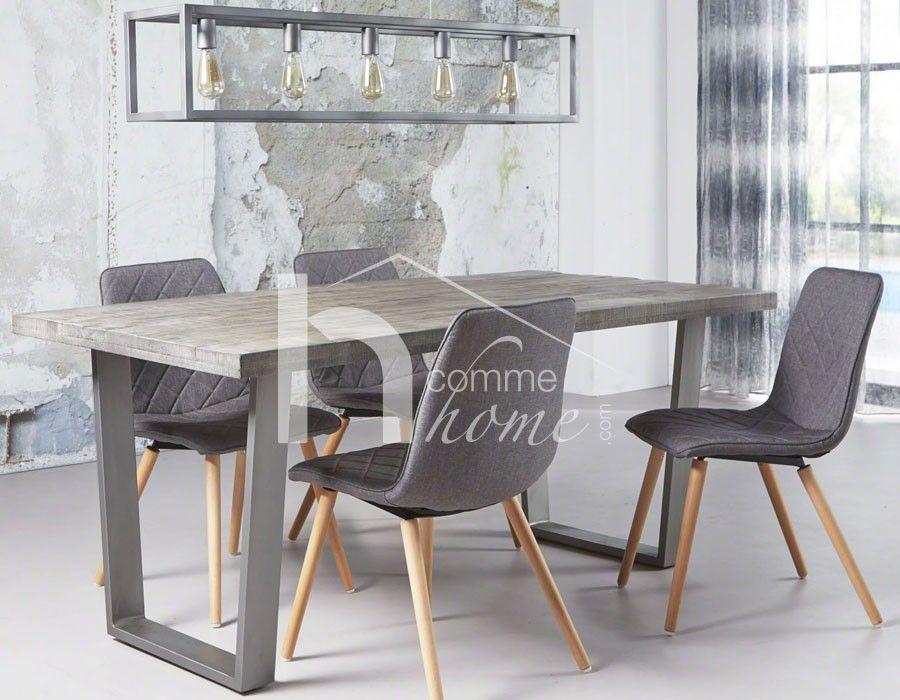 Table à manger industrielle en bois gris et acier ARISTOTE 2