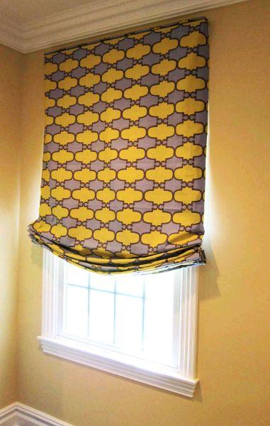 Custom Curtains Valance Roman Shade in Gold Offset Horizontal Stripes Pattern Fabric